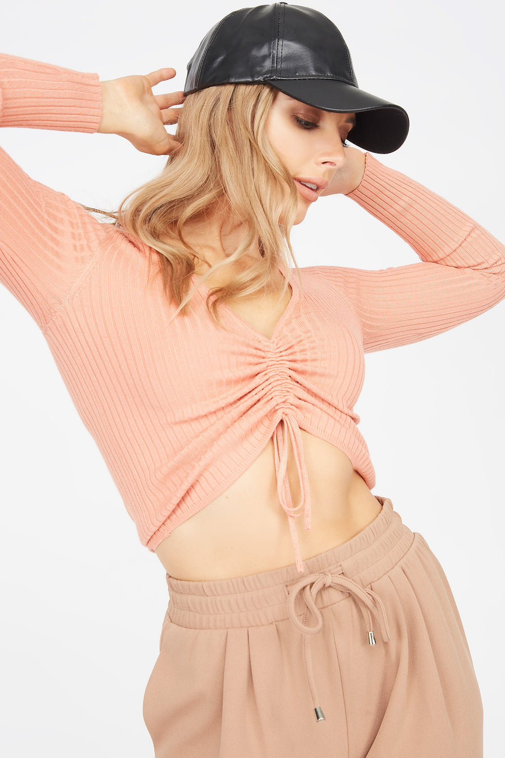 Ribbed V-Neck Ruched Front Sweater Coral
