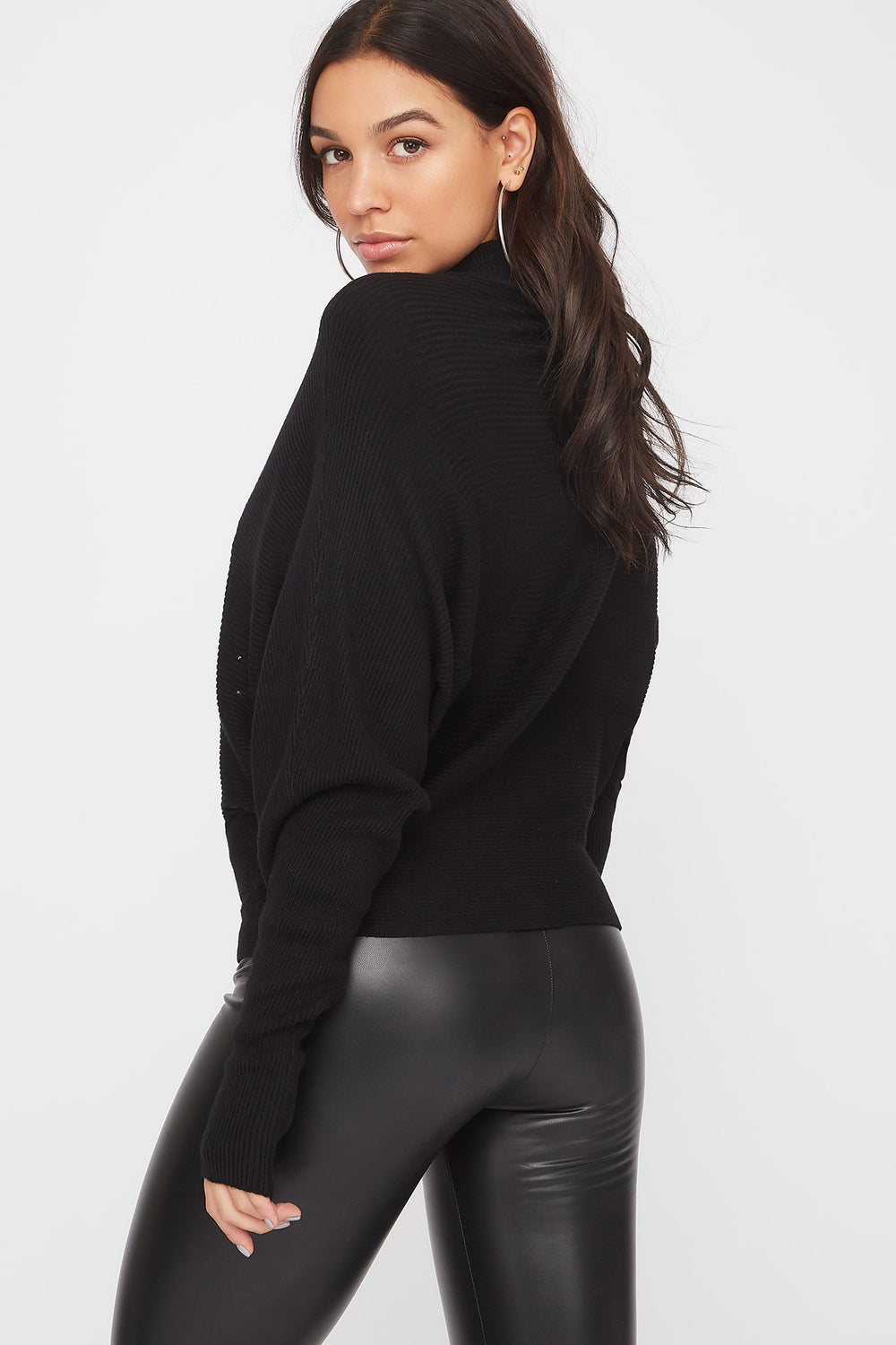 Ribbed Mock Neck Sweater Black