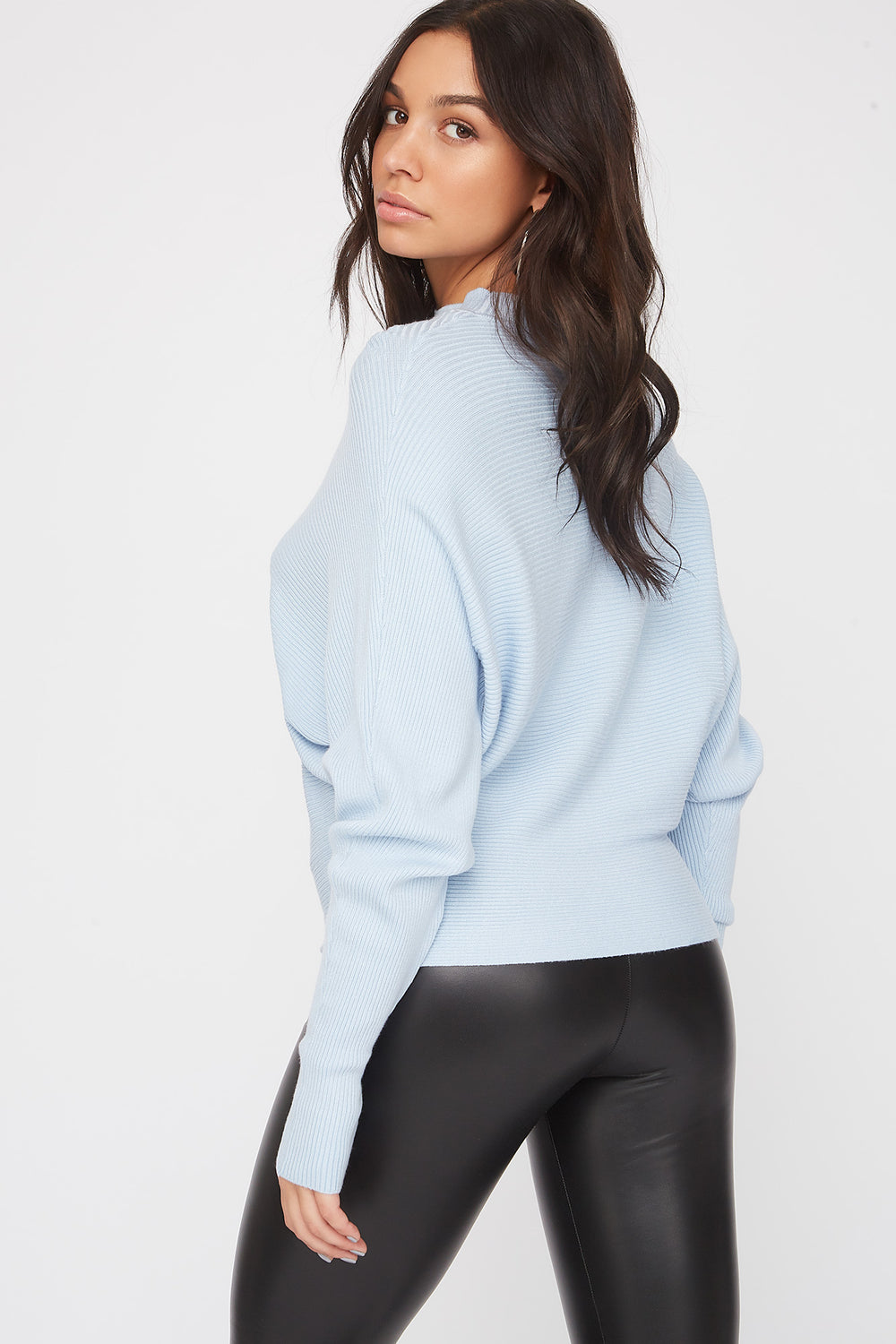 Ribbed Mock Neck Sweater Baby Blue