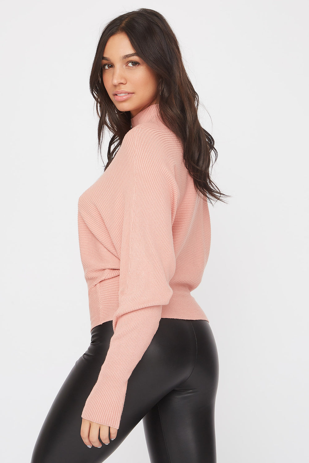 Ribbed Mock Neck Sweater Dusty Rose