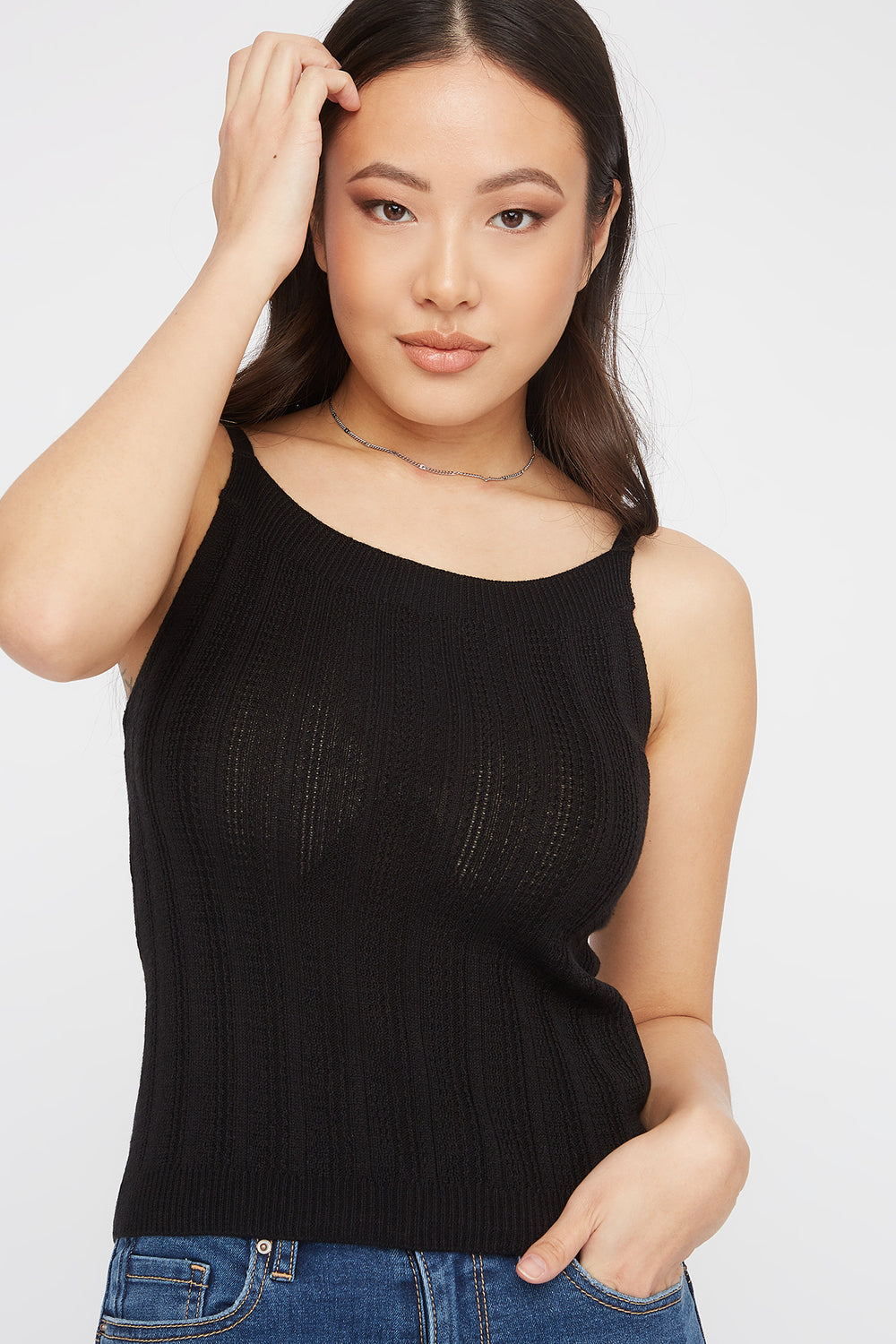 Knit Scoop Neck Cami Black