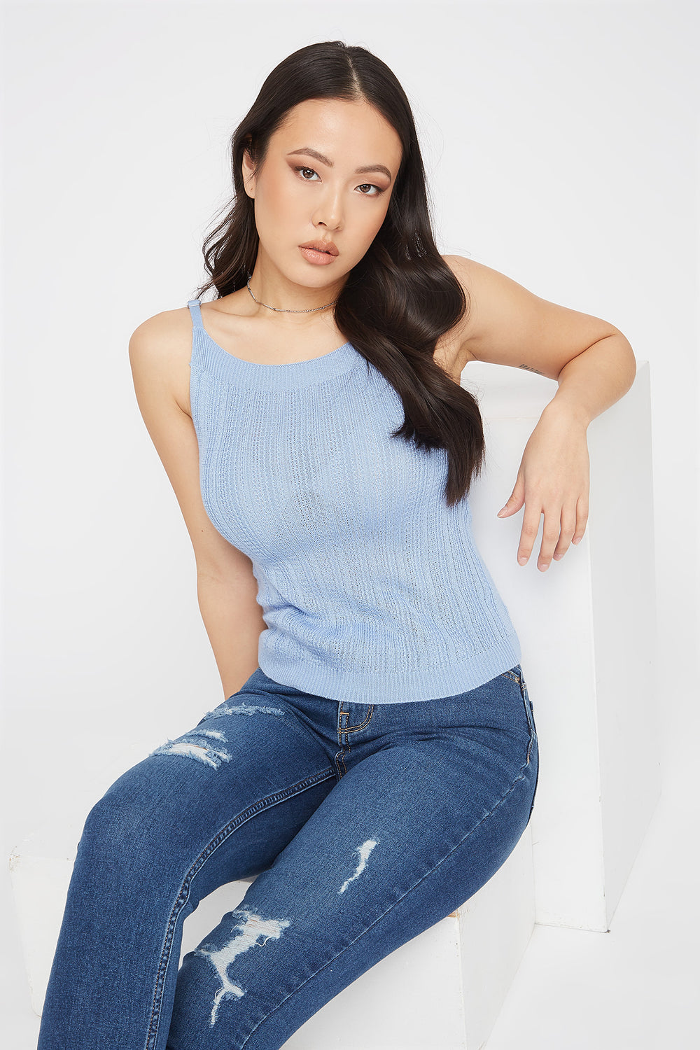 Knit Scoop Neck Cami Blue