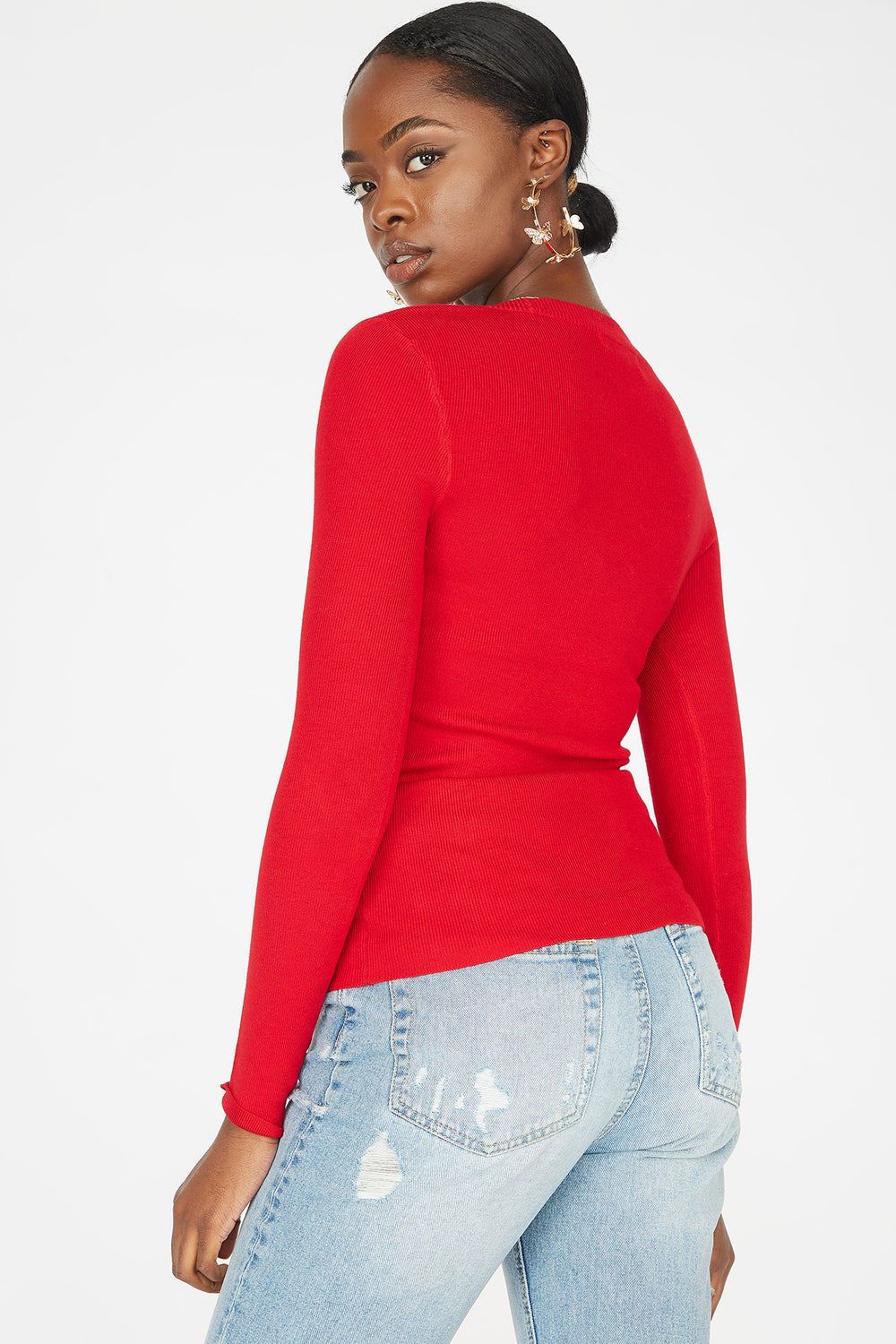 Knit Scoop Neck Long Sleeve Sweater Red