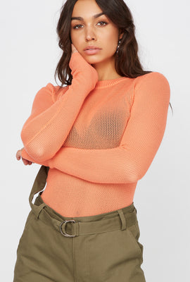 Knit Crew Neck Long Sleeve Sweater