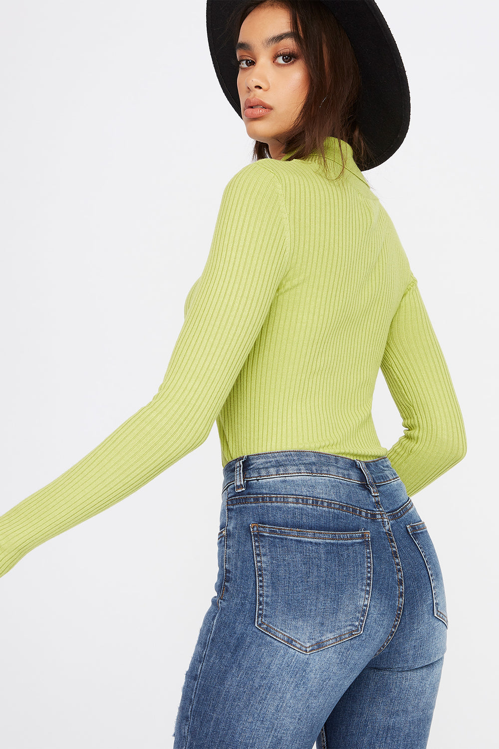 Ribbed Turtleneck Long Sleeve Green