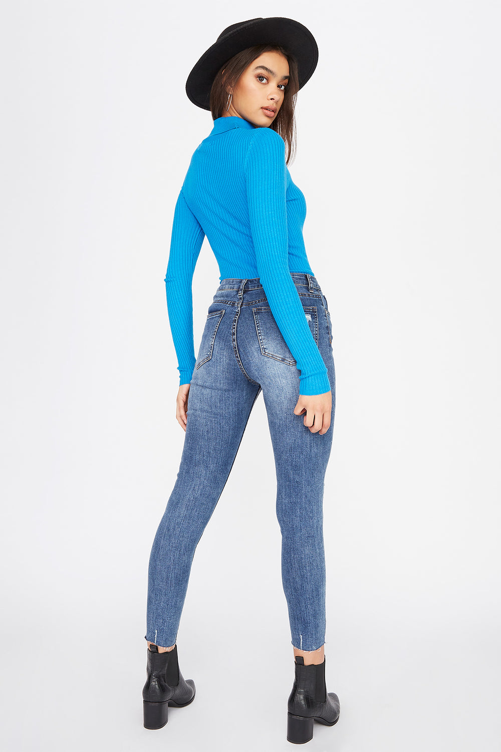 Ribbed Turtleneck Long Sleeve Blue