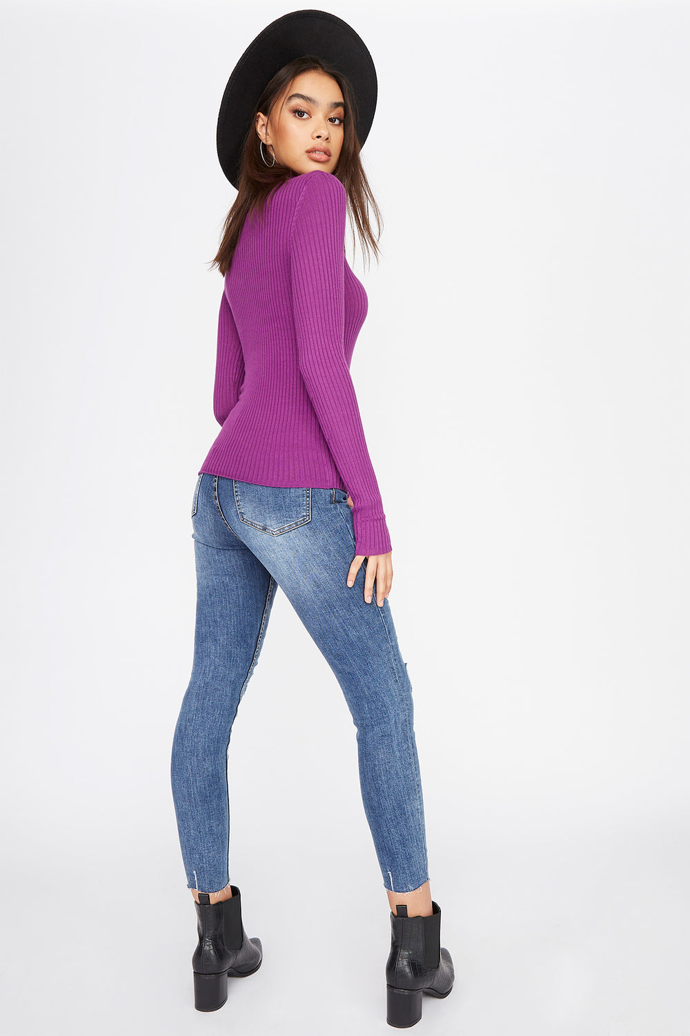 Ribbed Turtleneck Long Sleeve Purple