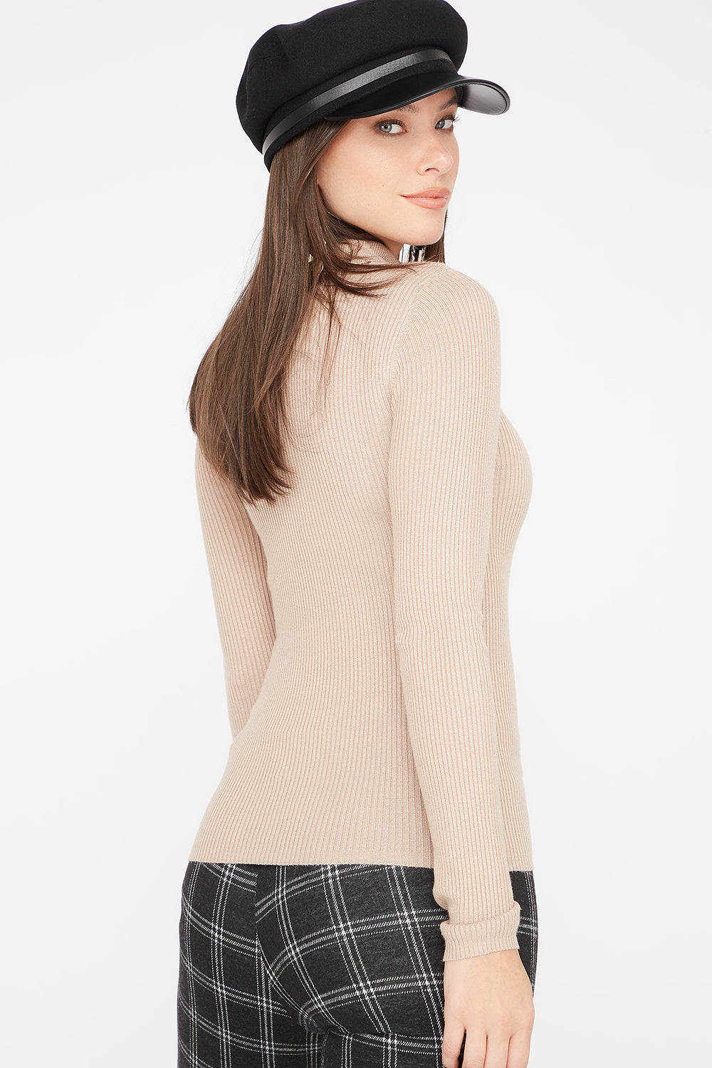 Ribbed Turtleneck Long Sleeve Sweater Oatmeal