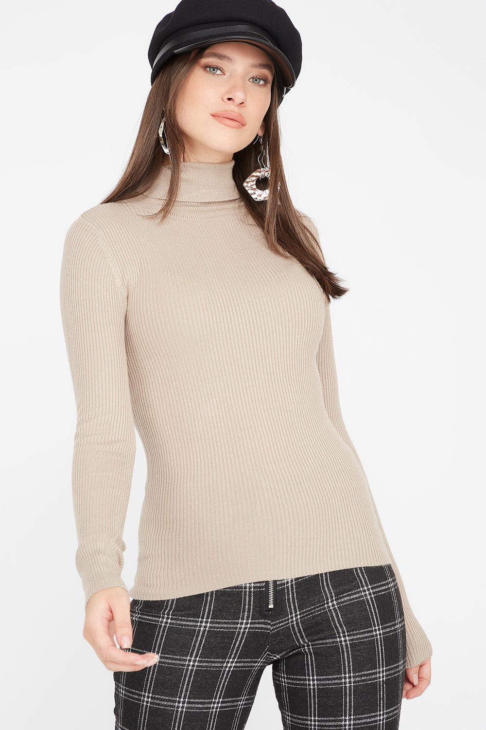 Ribbed Turtleneck Long Sleeve Sweater Tan