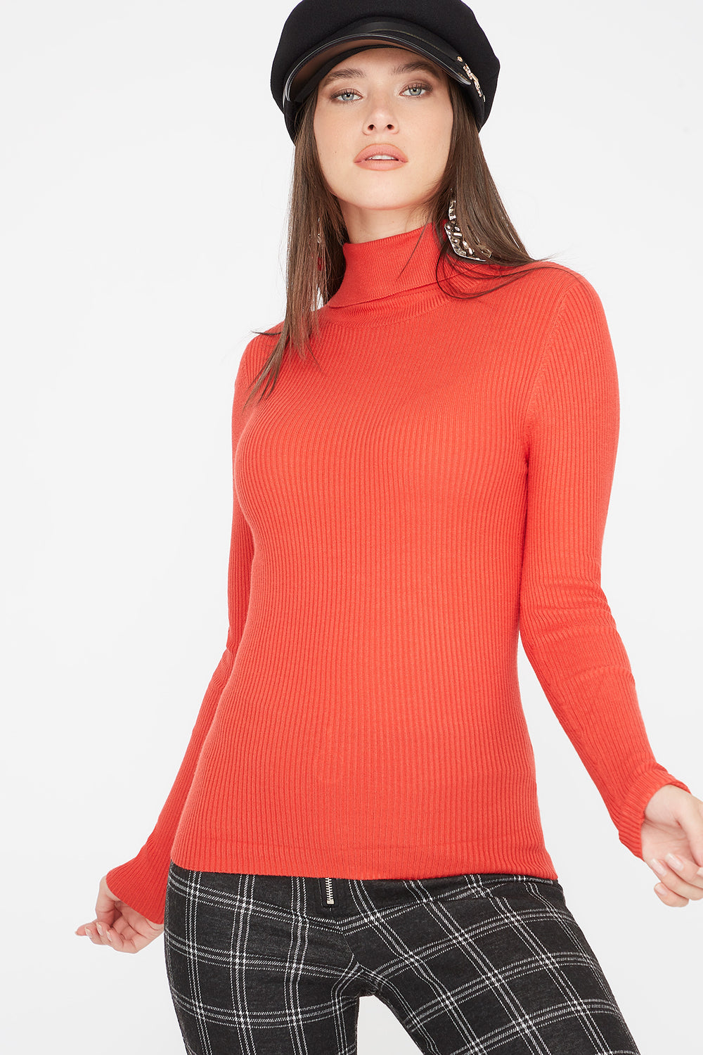 Ribbed Turtleneck Long Sleeve Sweater Red