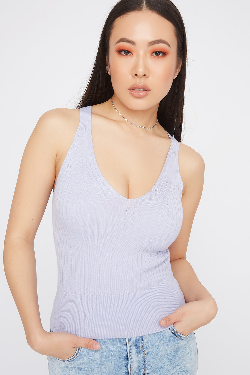 Ribbed Cable Knit V-Neck Tank Lilac
