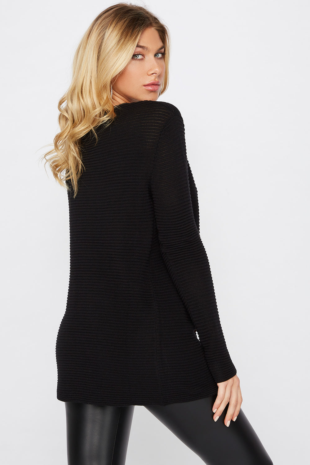 Relaxed Ribbed Crewneck Sweater Black