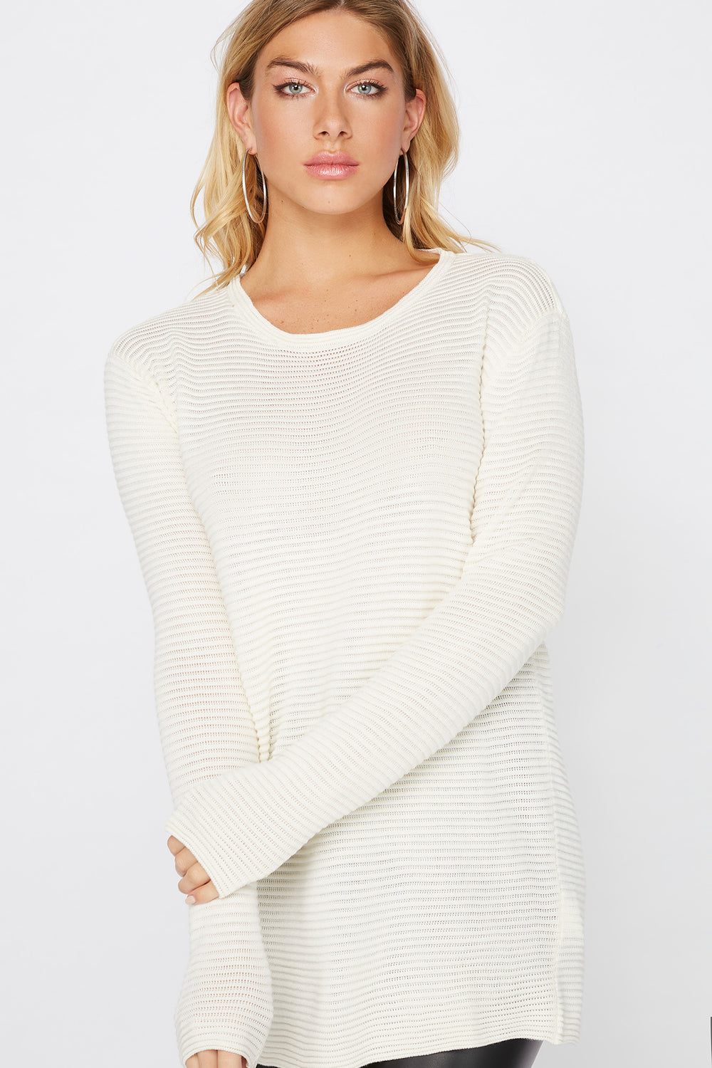 Relaxed Ribbed Crewneck Sweater White