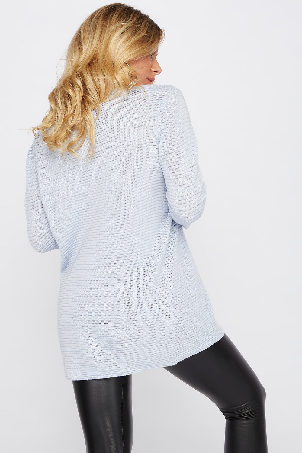 Relaxed Ribbed Crewneck Sweater Baby Blue