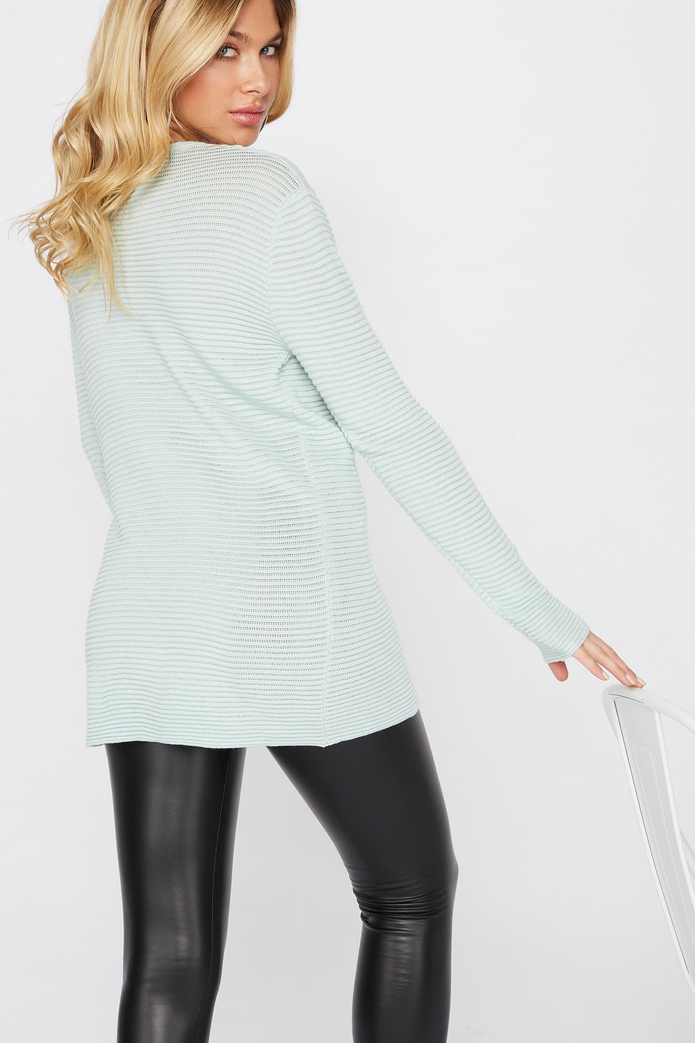 Relaxed Ribbed Crewneck Sweater Sage