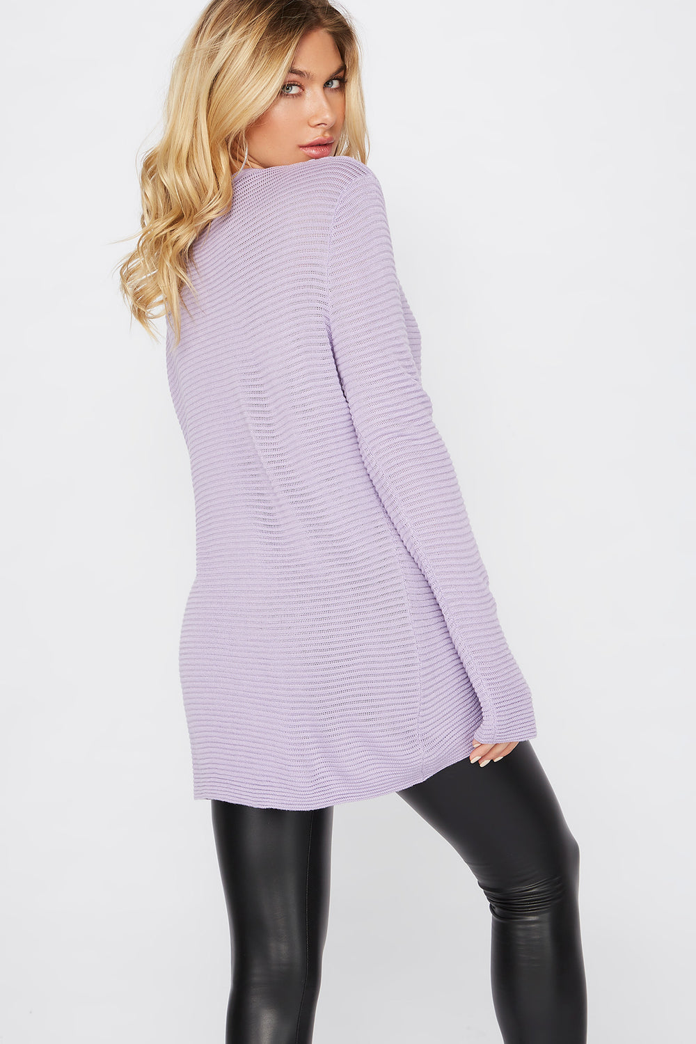 Relaxed Ribbed Crewneck Sweater Lilac