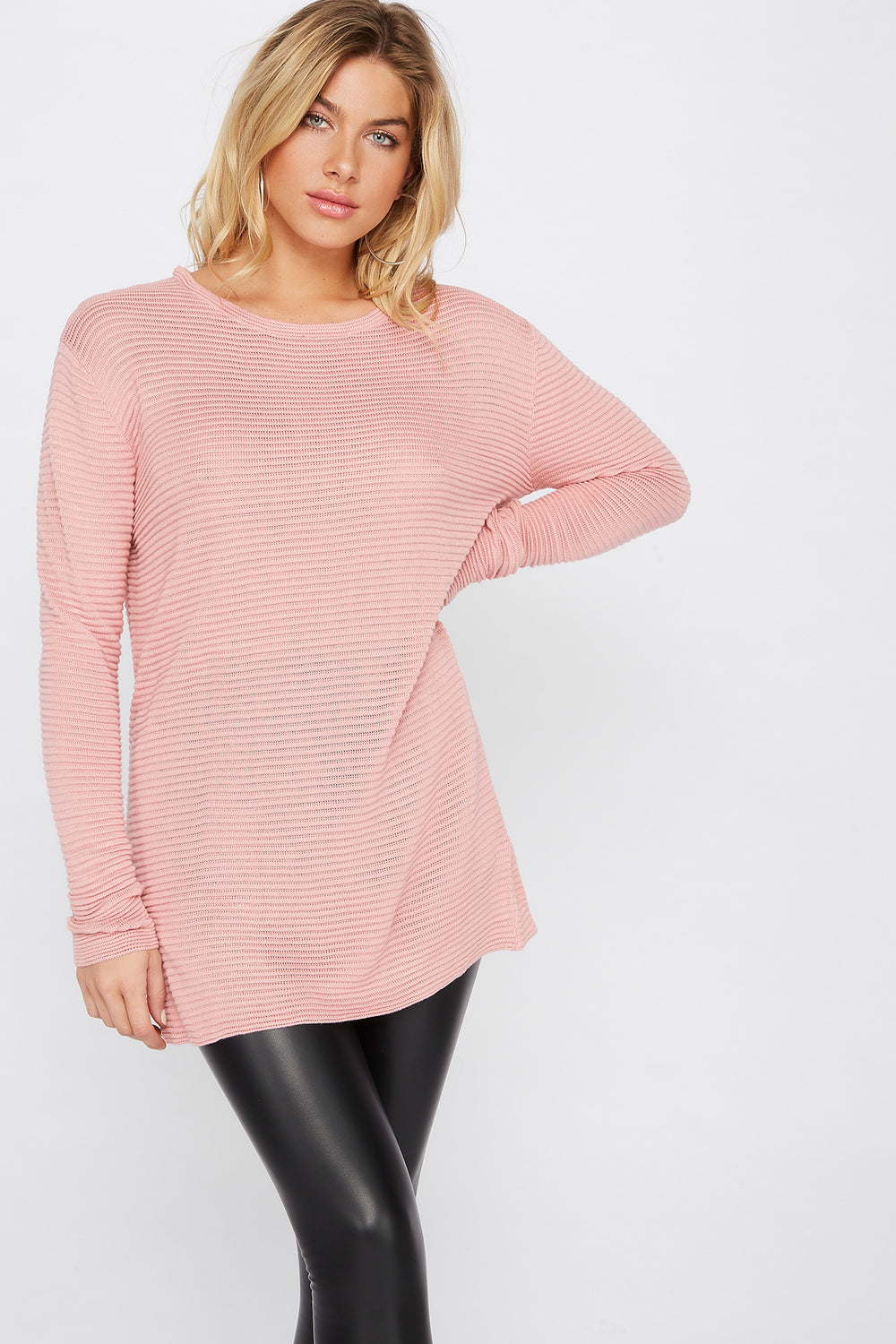 Relaxed Ribbed Crewneck Sweater Pink