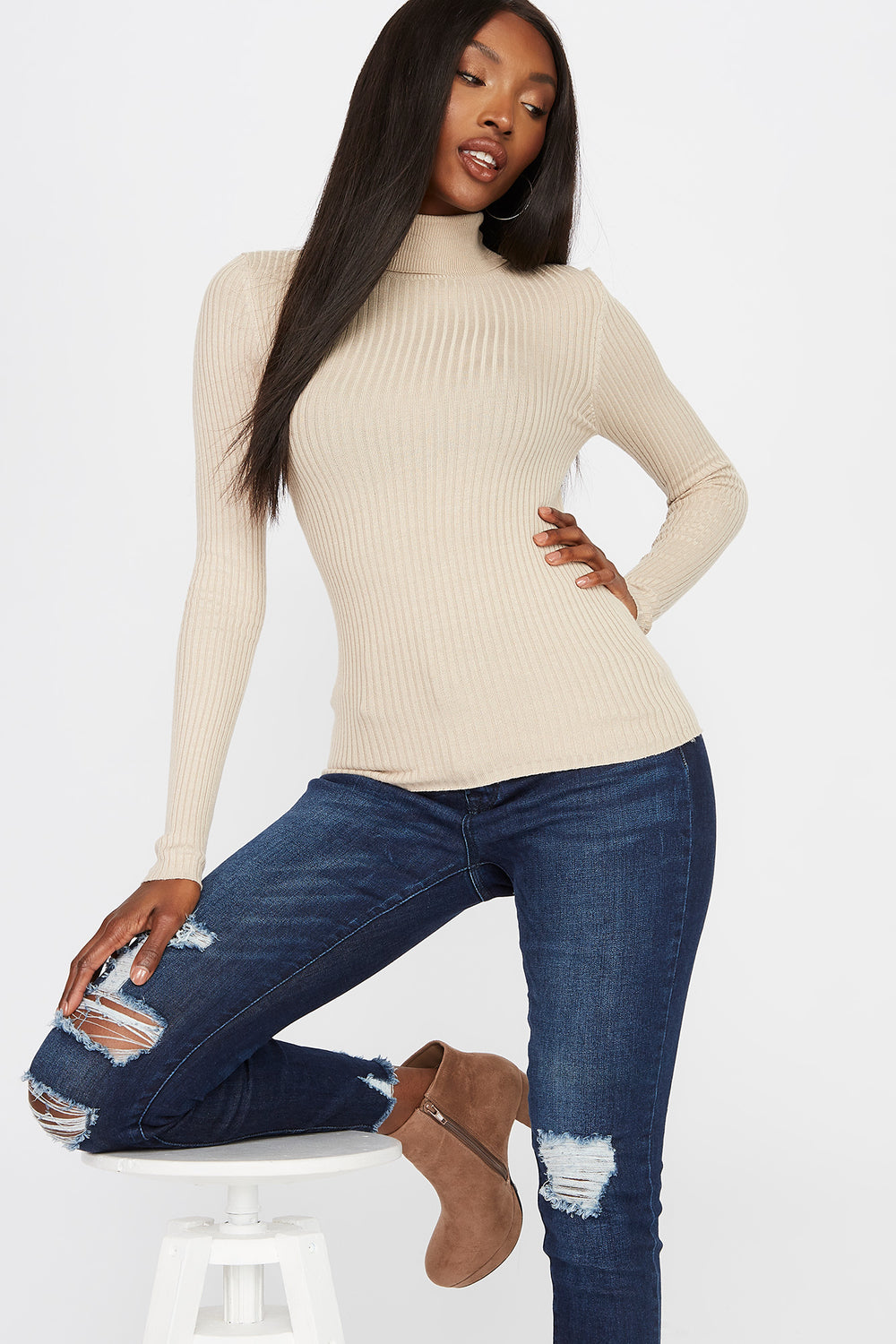 Ribbed Turtleneck Long Sleeve Tan