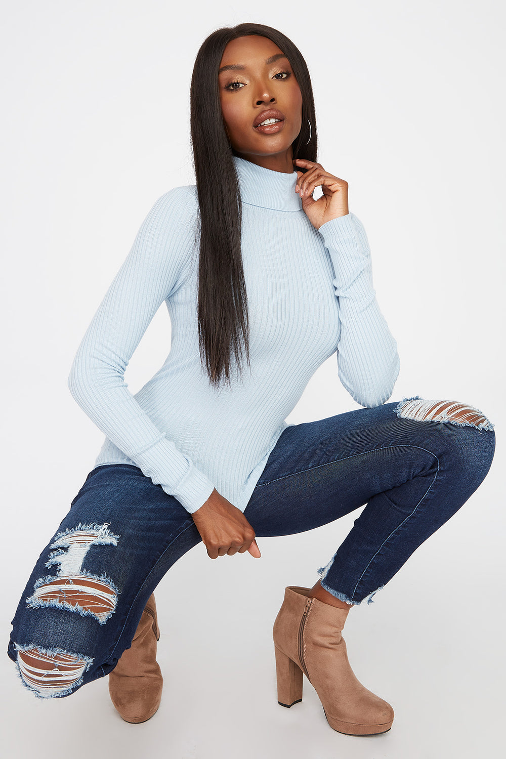 Ribbed Turtleneck Long Sleeve Baby Blue