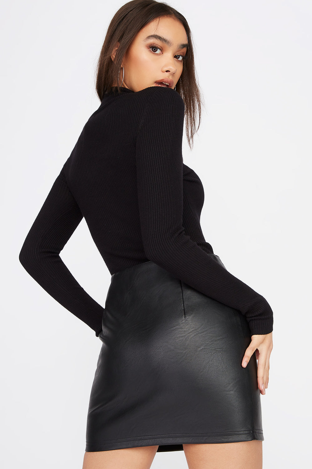 Turtleneck Ribbed Long Sleeve Black