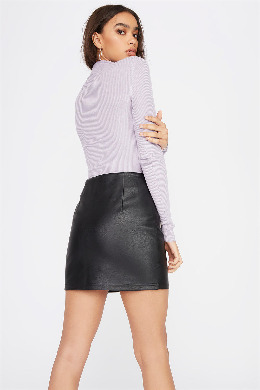 Turtleneck Ribbed Long Sleeve Lilac