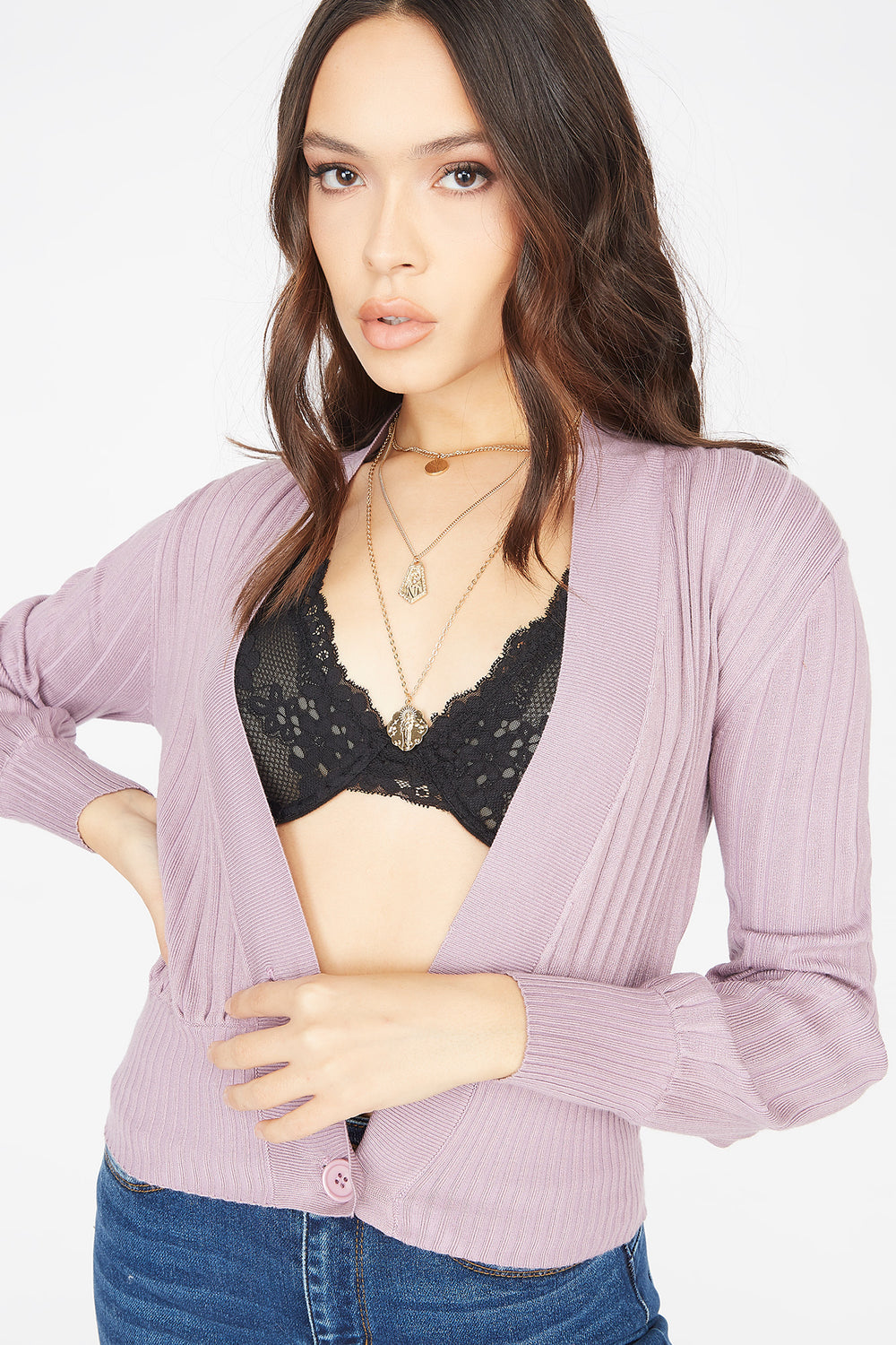 Ribbed Button-Front  Cardigan Mauve