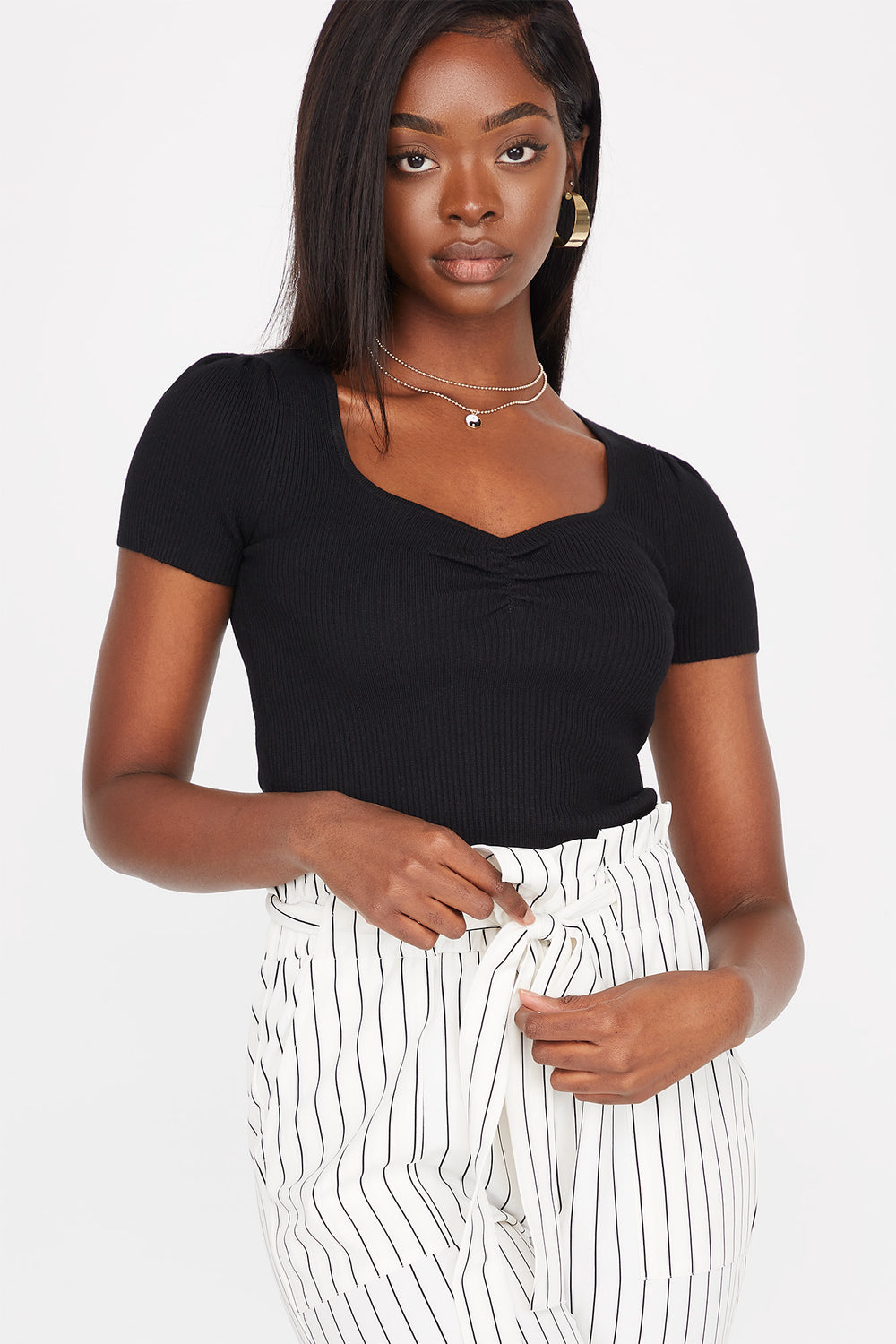 Ribbed Cinched Front Short Sleeve Cropped Sweater Black