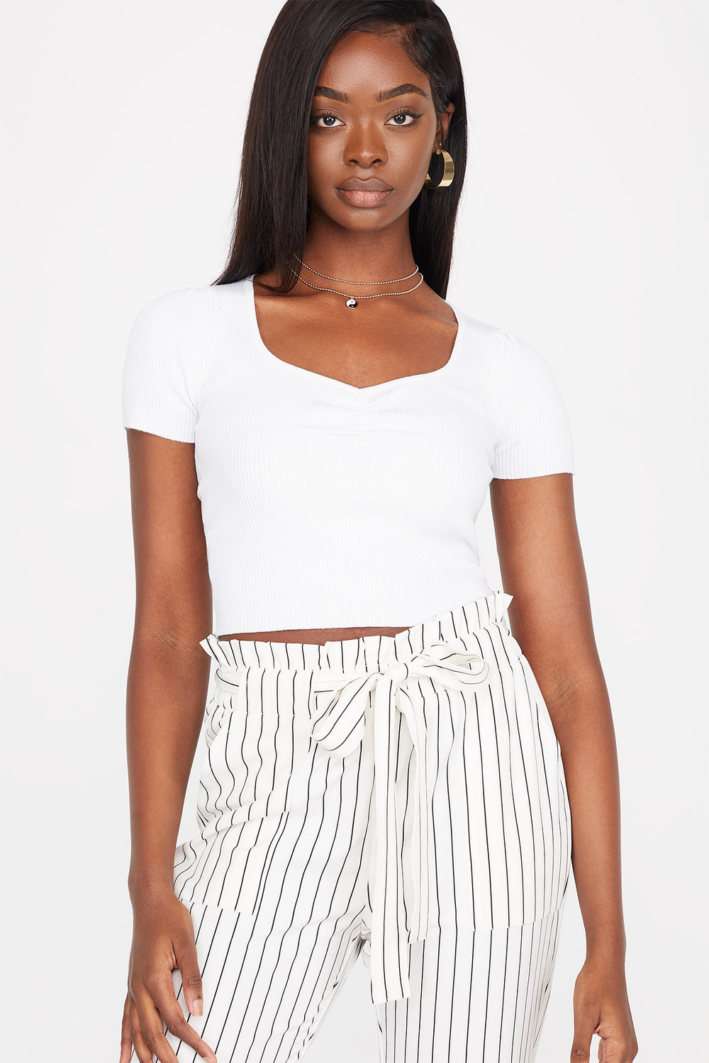 Ribbed Cinched Front Short Sleeve Cropped Sweater White