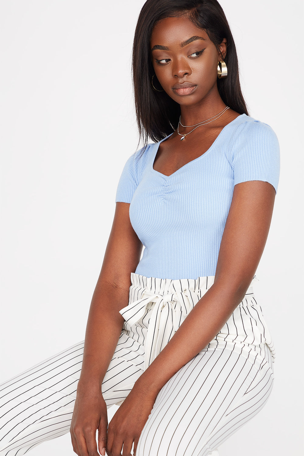 Ribbed Cinched Front Short Sleeve Cropped Sweater Light Blue