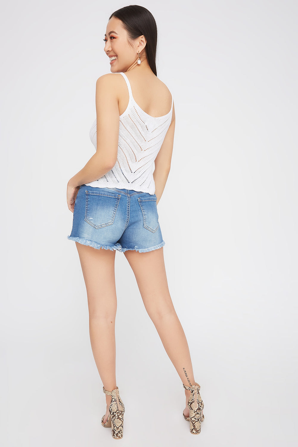 Knit V-Neck Scallop Hem Tank White