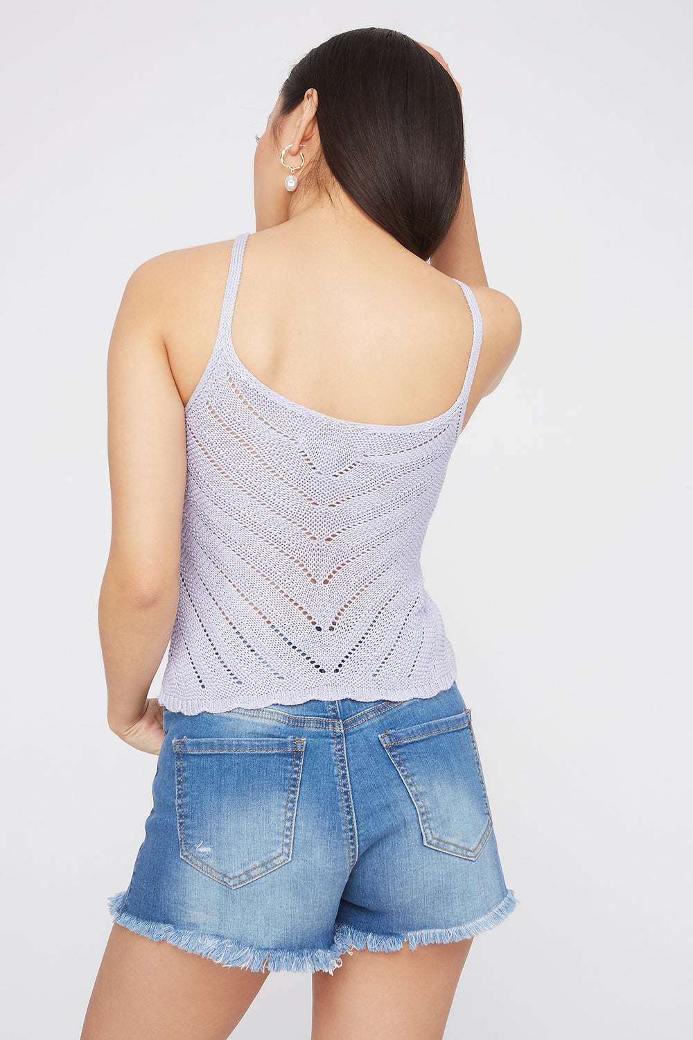 Knit V-Neck Scallop Hem Tank Lilac