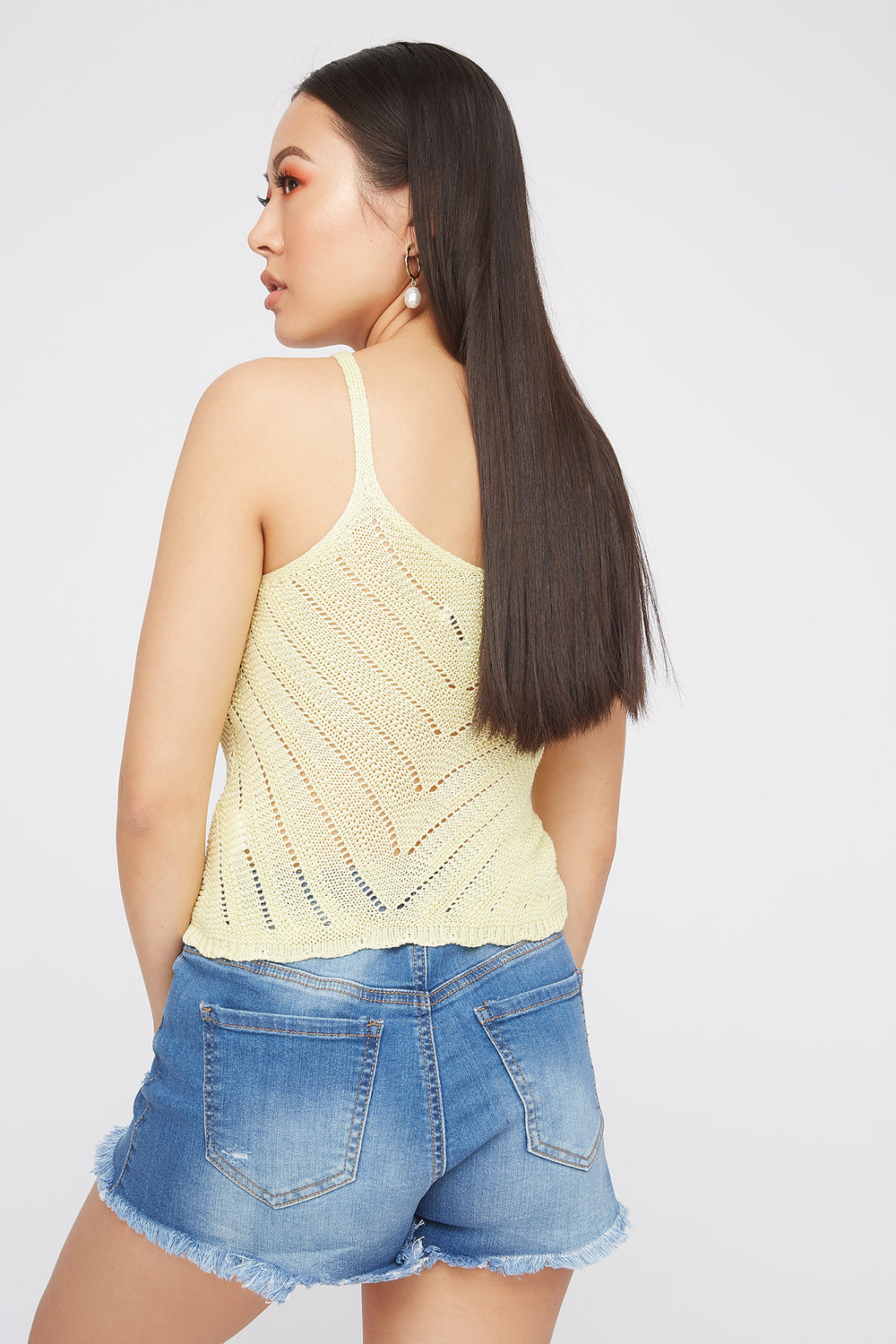 Knit V-Neck Scallop Hem Tank Yellow