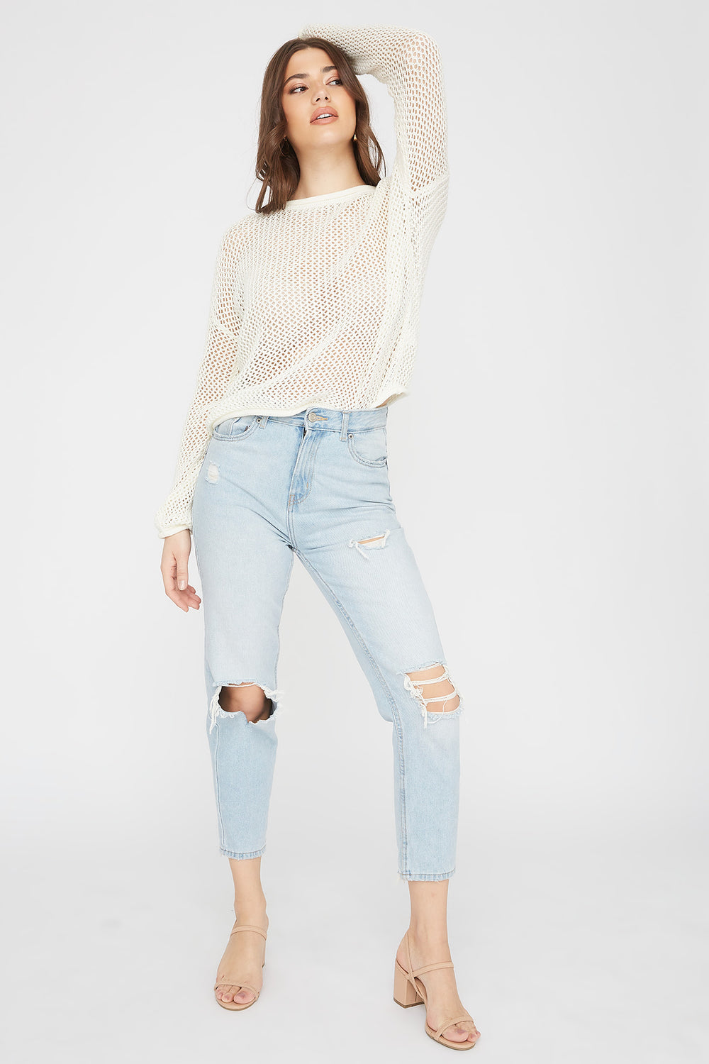 Open Knit Crew Neck Sweater Cream