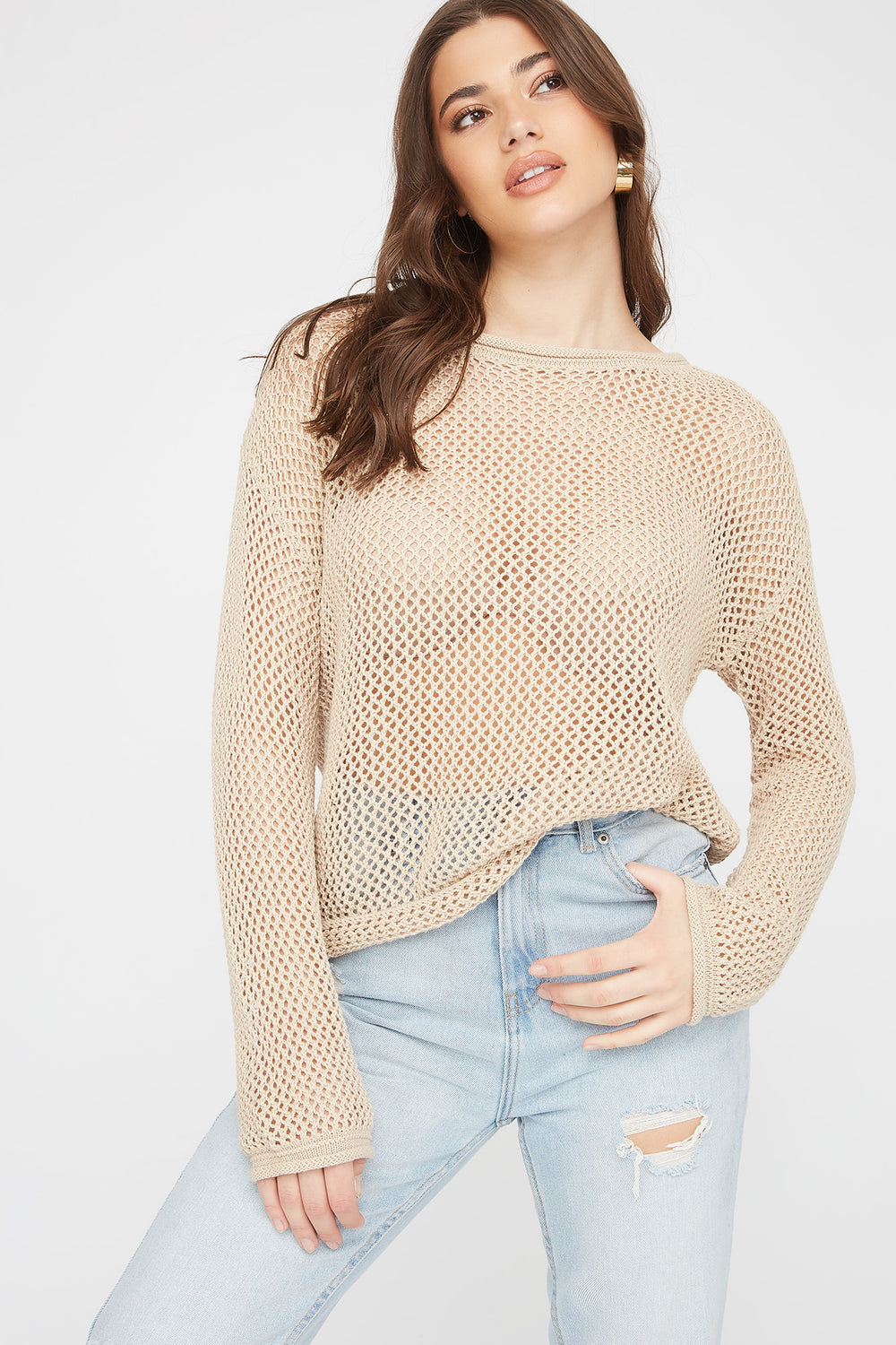 Open Knit Crew Neck Sweater Oatmeal