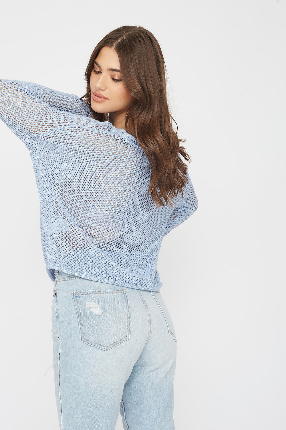 Open Knit Crew Neck Sweater Baby Blue