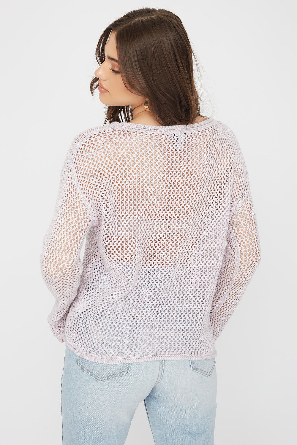 Open Knit Crew Neck Sweater Lilac