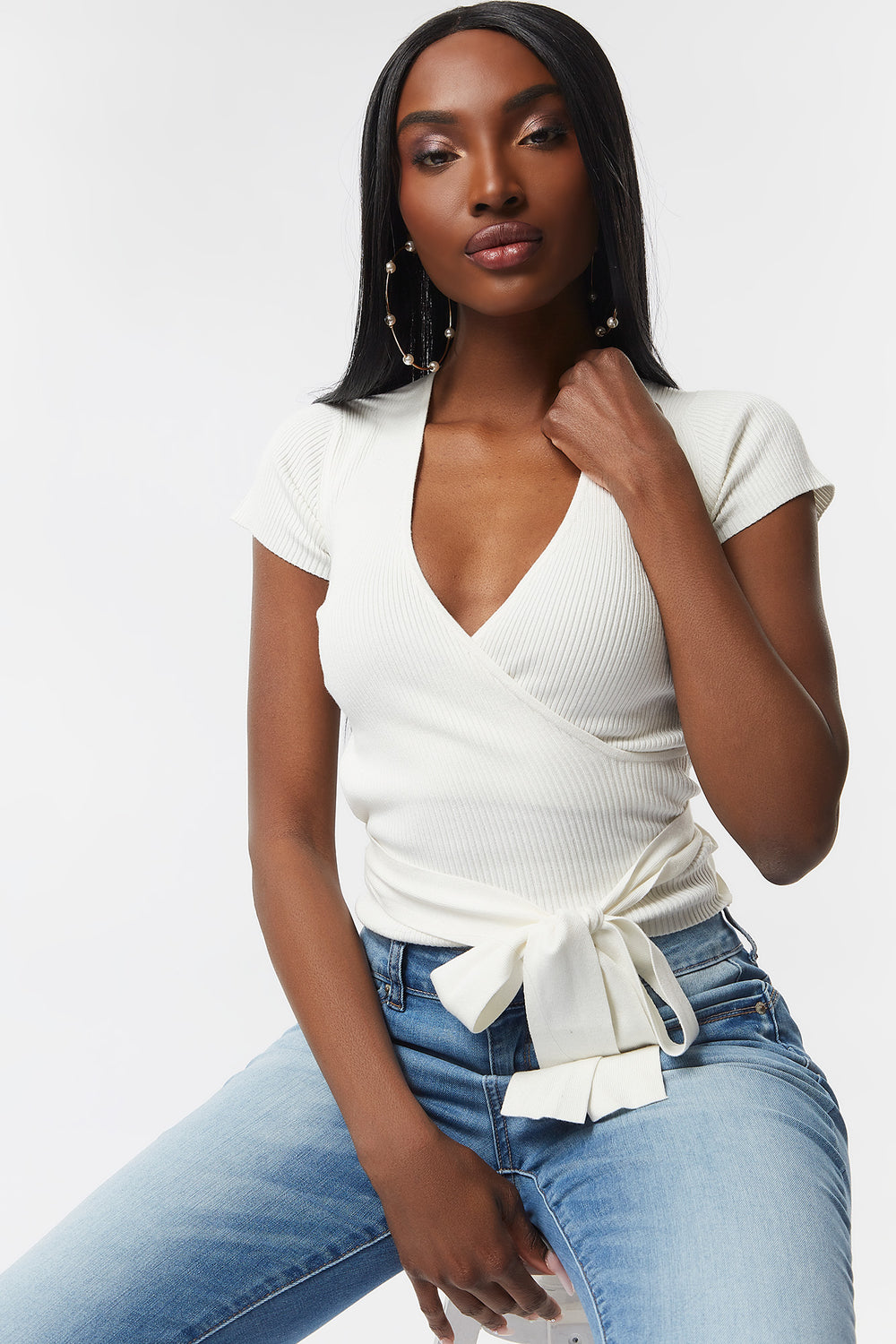 Ribbed V-Neck Wrap Front Top Cream