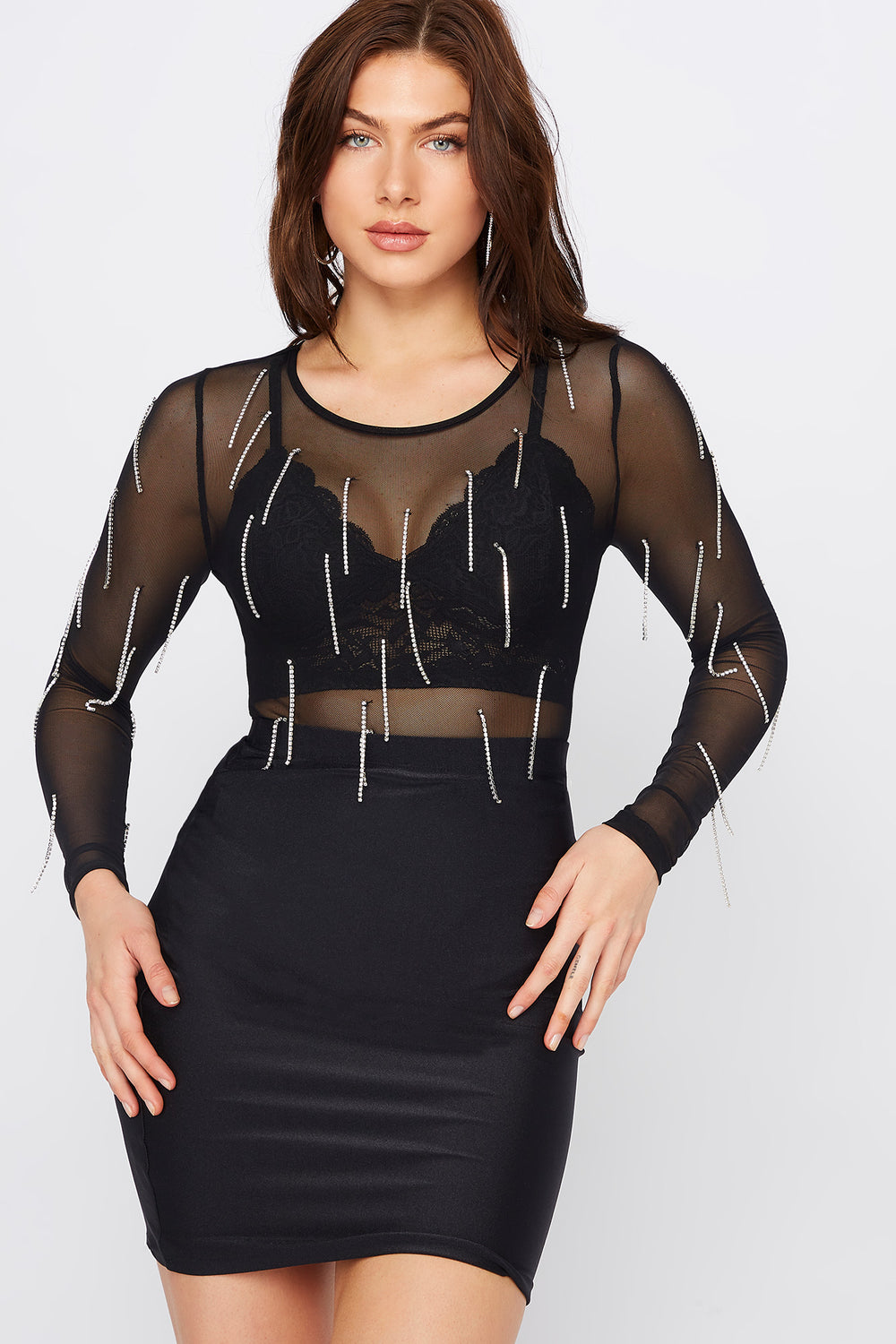 Mesh Rhinestone Long Sleeve Bodysuit Black