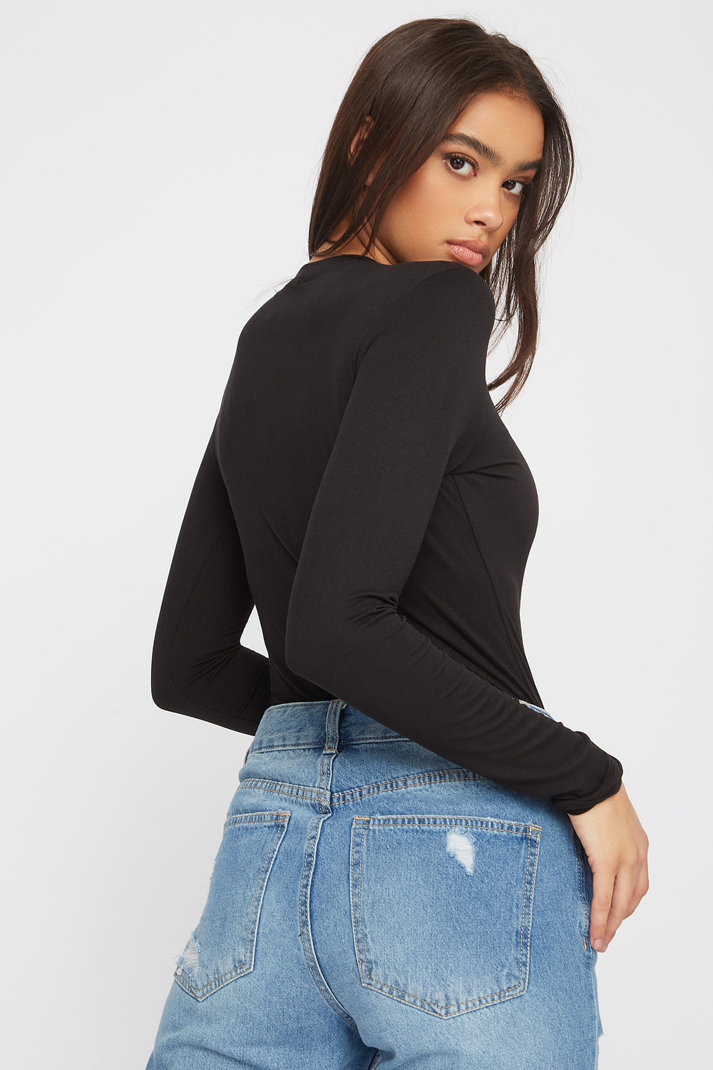 Crew Neck Long Sleeve Bodysuit Black