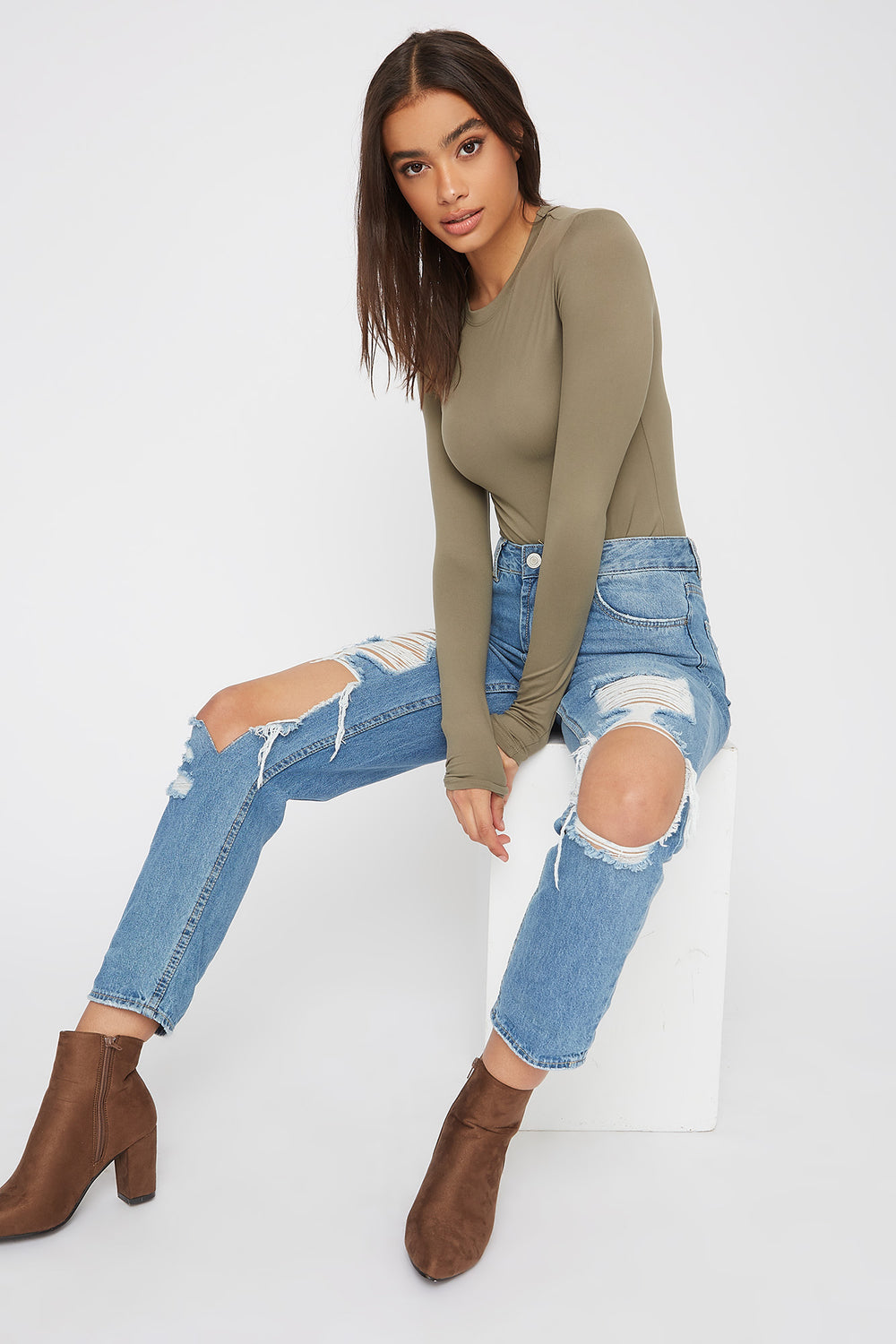 Crew Neck Long Sleeve Bodysuit Dark Green