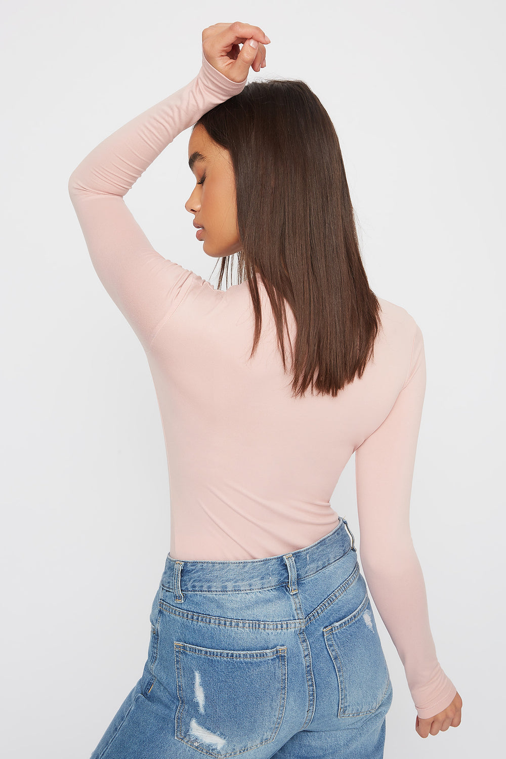 Crew Neck Long Sleeve Bodysuit Dusty Rose