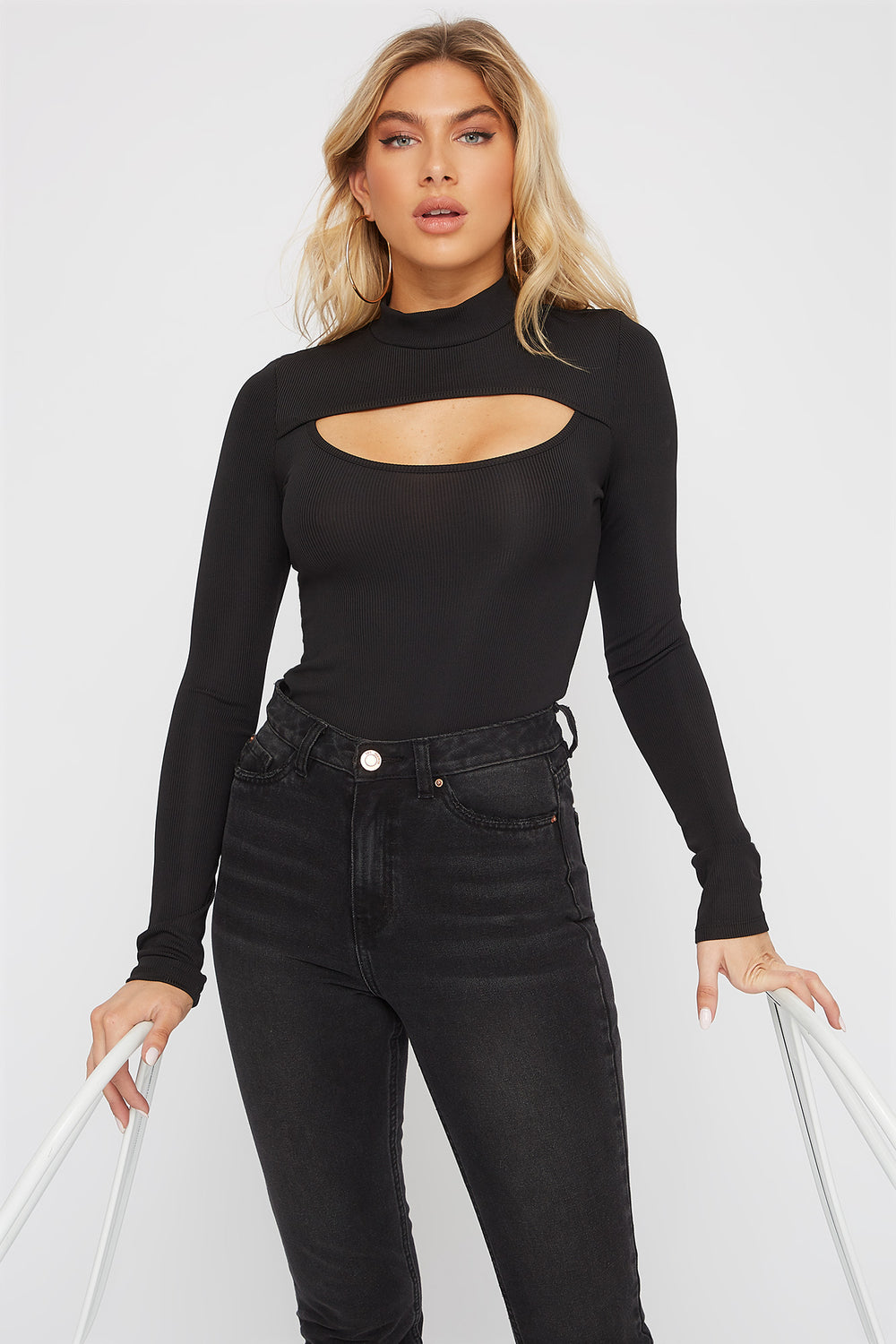 Ribbed Mock Neck Cut Out Long Sleeve Bodysuit Black