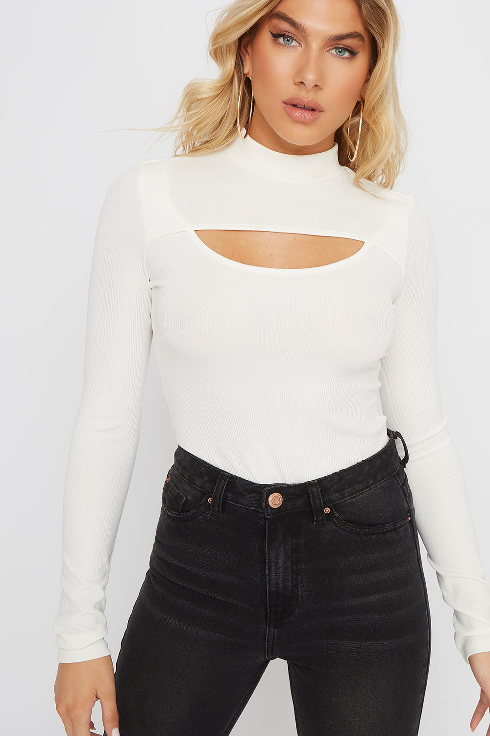 Ribbed Mock Neck Cut Out Long Sleeve Bodysuit Ivory