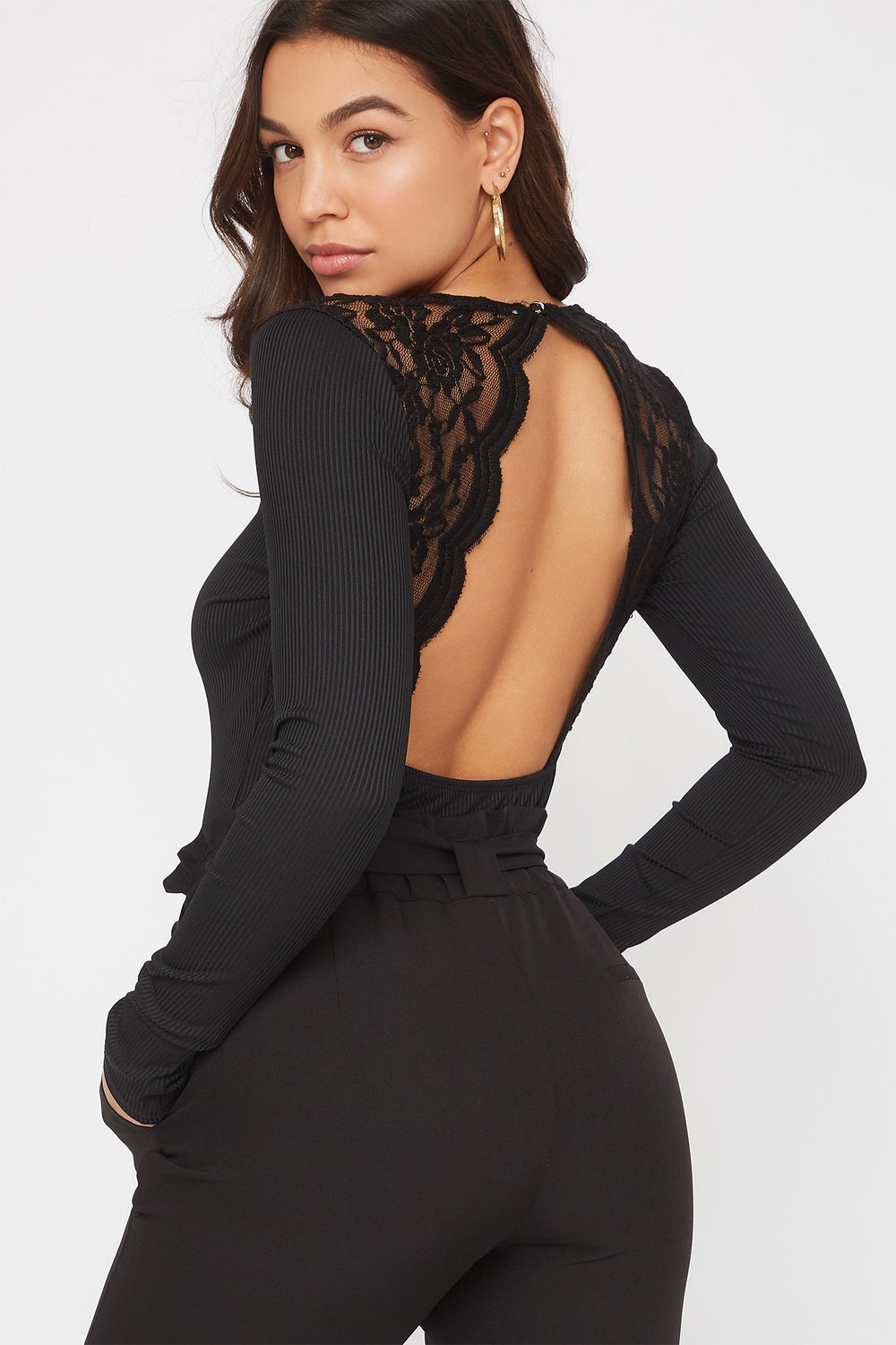 V-Neck Lace Open Back Bodysuit Black