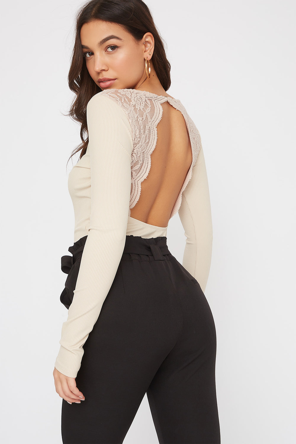 V-Neck Lace Open Back Bodysuit Beige
