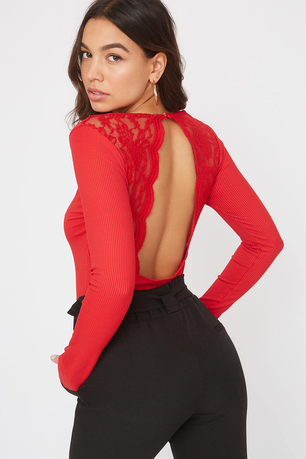 V-Neck Lace Open Back Bodysuit Red