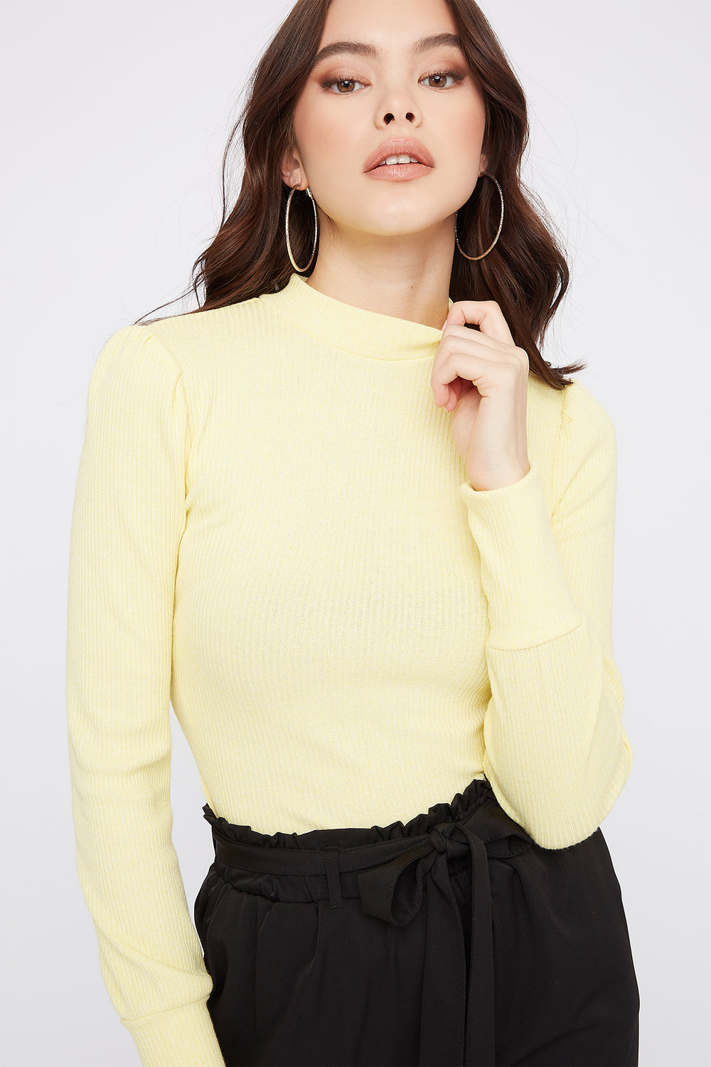 Ribbed Mock Neck Puff Sleeve Bodysuit Pale Yellow
