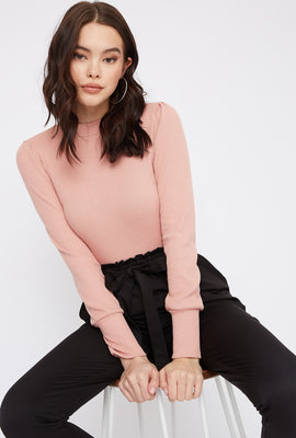 Ribbed Mock Neck Puff Sleeve Bodysuit