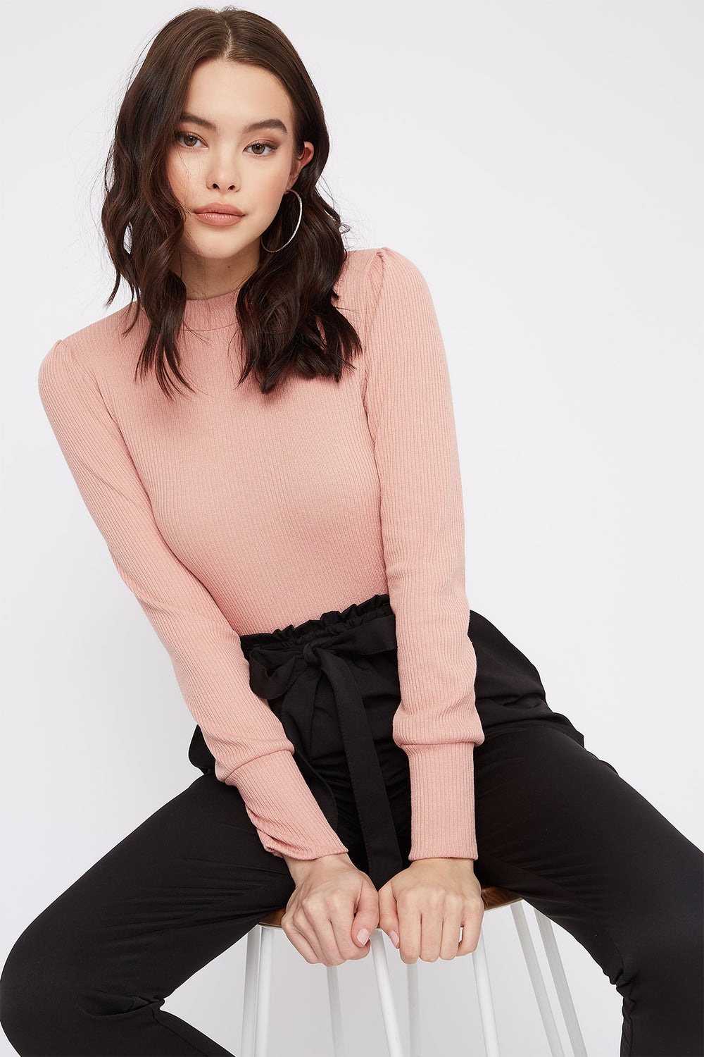 Ribbed Mock Neck Puff Sleeve Bodysuit Light Pink