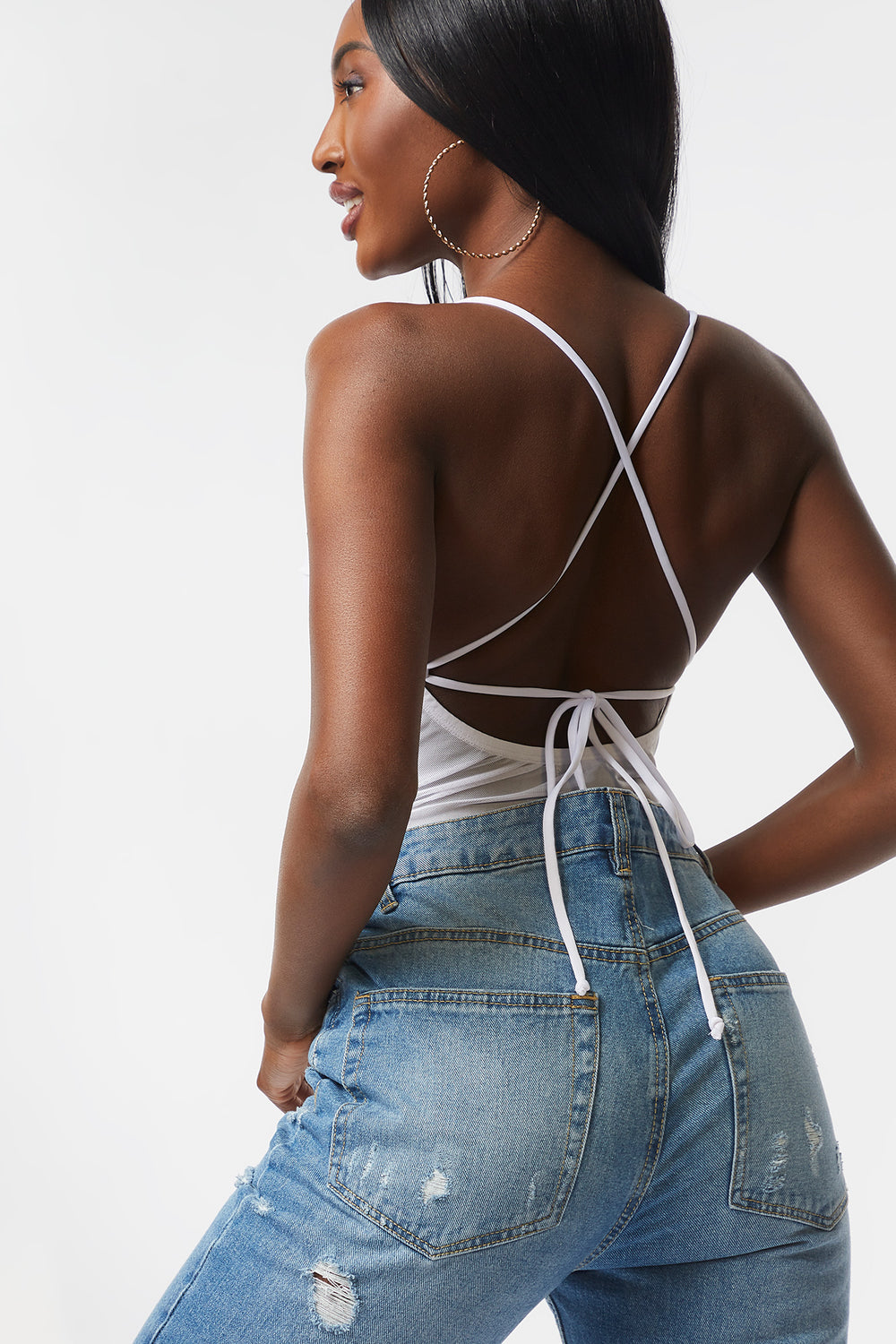 Mesh Ruched Tie Back Bodysuit Ivory